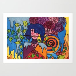 The lady and the knife Art Print