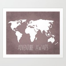 Adventure Awaits World Map Art Print