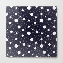 Abstract Network on Navy Metal Print