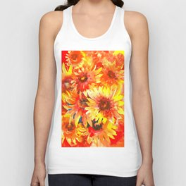Bright Orange, Red, Yellow Flowers (blanket Flowers) Unisex Tank Top