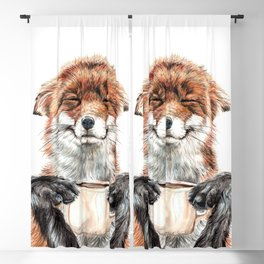 """ Morning fox "" Red fox with her morning coffee Blackout Curtain"