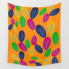 Fall Leaves Pop Pattern Design Wall Tapestry