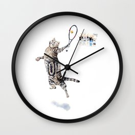 Cat Playing Tennis Wall Clock