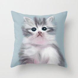 Cute Grey Kitten Throw Pillow