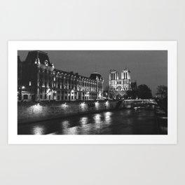 Paris Notre Dame and Seine river. Art Print