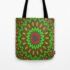 Lovely Healing Mandala  in Brilliant Colors: Green, Brown, Copper, and Maroon Tote Bag