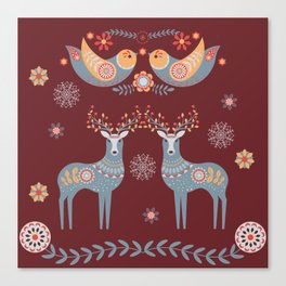 Nordic Winter Red Canvas Print