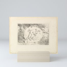 Nymph Astride a Satyr Mini Art Print