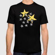 Yellow Zebra print stars LARGE Mens Fitted Tee Black