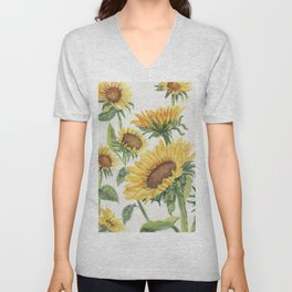 Blooming Sunflowers Unisex V-Neck