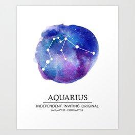 Aquarius Watercolor Zodiac Constellation Art Print