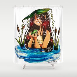 Taino Girl with Coqui Shower Curtain