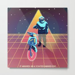 Synthwave Scooter-naut Metal Print