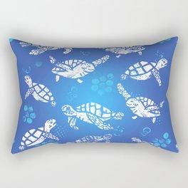White turtle print on blue Rectangular Pillow