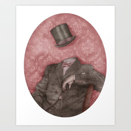 In which the head is elsewhere (in technicolour) Art Print