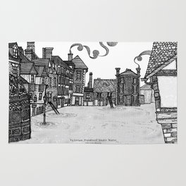 Victorian Frankwell Under Water, black and white Rug