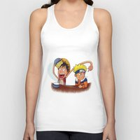 luffy Tank Tops featuring Luffy And Naruto eating Ramen by mannynunez