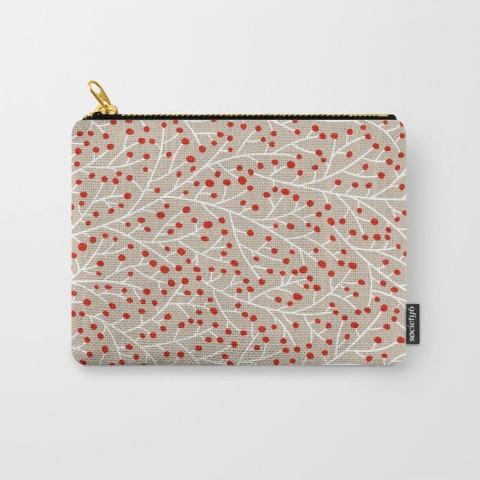 Red & White Berry Branches Carry-All Pouch