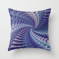 psych Throw Pillows featuring Purple Psych v2 by Grace Phillips