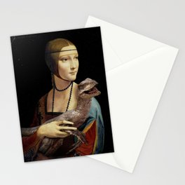 Lady with a Velociraptor Stationery Cards
