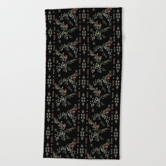 Seamless abstract floral pattern on black background Beach Towel