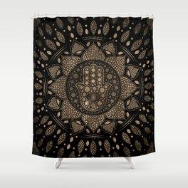 Hamsa Hand -Hand of Fatima in Lotus mandala Shower Curtain