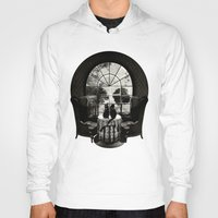 trippy Hoodies featuring Room Skull B&W by Ali GULEC
