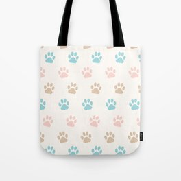 Cute Cat Paw Print Pattern – Pink Blue Brown and Cream Tote Bag
