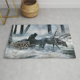 Grim Reaper with Horse in the Woods Rug