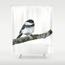Black-capped Chickadee by Teresa Thompson Shower Curtain