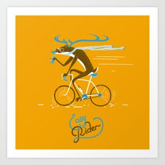 Easy Rider // (cycling hipster deer) Art Print
