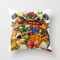 mario bros Throw Pillows featuring Super Mario Bros. Battle by Magik Tees