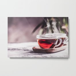 Tea composition on concrete background Metal Print