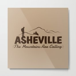 Asheville - The Mountains Are Calling - AVL 2 Brown On Brown Metal Print