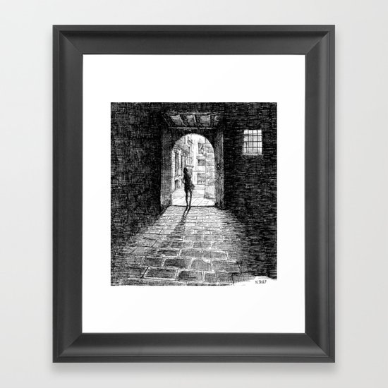 Light - Black ink Framed Art Print