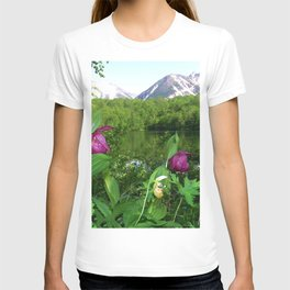 Wild Orchid Lady Slippers Snow-capped Mountain Landscape T-shirt