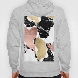 Modern white black marble rose gold foil color block handdrawn geometric lines Hoody