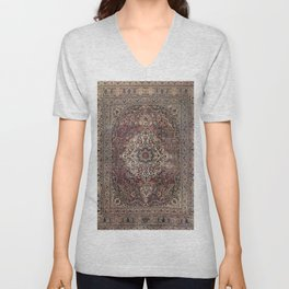 Antique Persia Doroksh Old Century Authentic Dusty Dull Blue Gray Green Vintage Rug Pattern Unisex V-Neck