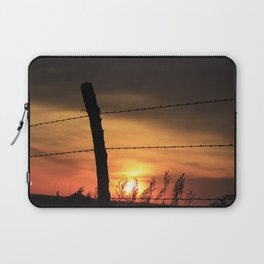 Kansas Sunset with fence Silhouette Laptop Sleeve