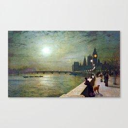 John Atkinson Grimshaw Reflections on the Thames Canvas Print