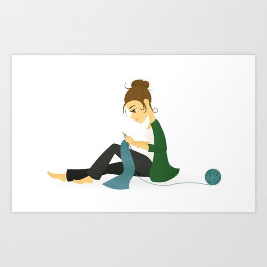 Happy Knitting Art Print