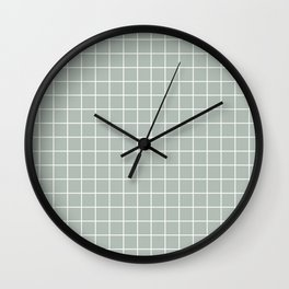 Ash gray - grey color - White Lines Grid Pattern Wall Clock