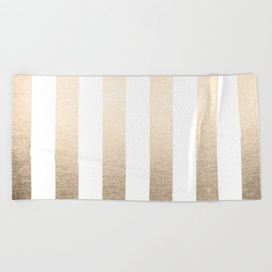 Simply Vertical Stripes in White Gold Sands Beach Towel