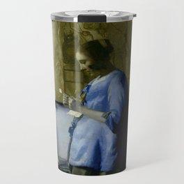 Vermeer, woman reading a letter,Mujer leyendo una carta,Brieflezende vrouw, Travel Mug
