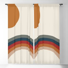 Retro Rainbow Print Blackout Curtain