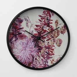 October Flowers Wall Clock