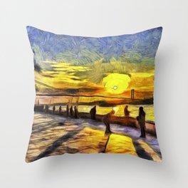 Sunset Fishing Istanbul Van Gogh Throw Pillow
