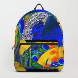 TROPICAL YELLOW HIBISCUS & BLUE PEACOCKS Backpack