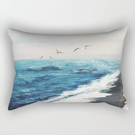 Watercolor Coast Rectangular Pillow