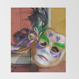 New Orleans Mardi Gras Mask Throw Blanket